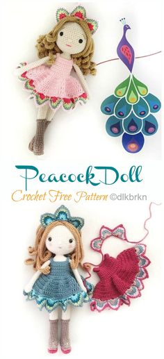 Amigurumi Peacock Doll Crochet Free Pattern - Crochet & Knitting You are in the right place about Am Doll Amigurumi Free Pattern, Crochet Giraffe Pattern, Crochet Unicorn Hat, Crochet Penguin, Crochet Amigurumi Free Patterns, Amigurumi Doll, Peacock Pattern, Little Doll, Crochet Projects