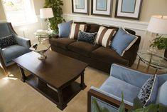 living room sofa loveseat set Brown And Blue Living Room, Brown Couch Living Room, Dark Living Rooms, Interior Design Living Room, Living Room Designs, Small Living, Dark Couch, Brown Sofa Grey Walls, Brown Sofa Decor