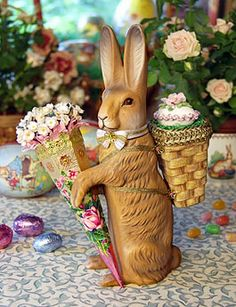 Reproduction German Papier-Mache Candy Container #Easter #Bunny