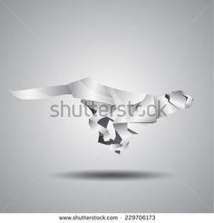 vector origami silver jaguar - stock vector