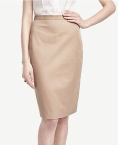 Ann Taylor | Cotton Blend Pencil Skirt - Sandy Khaki | $79.00