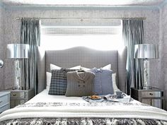 Trendy menswear fabrics, metallics and nature-inspired details come together effortlessly in this space. A playful mix of finishes, patterns and textures starts with the bedding ensemble, then makes its way throughout the entire room.