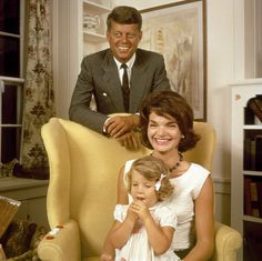 Kennedy family photo:  Jack, Jackie and Caroline Kennedy