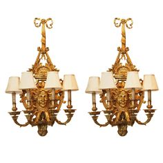 1stdibs | A pair of  4 light gilt bronze French Regency style appliques'