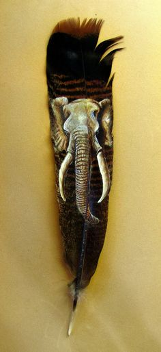 Original Elephant on Real Turkey Feather Painted Fine Art African Africa Art Big Five. $80.00, via Etsy.