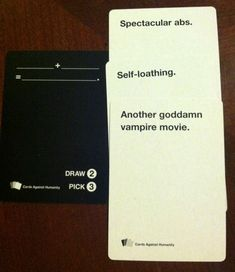 8 Well-Played Hands Of Cards Against Humanity. So hilarious, you have to read them Faye and Ree! Funny Quotes, Funny Memes, Jokes, Funniest Cards Against Humanity, Cards Of Humanity, Haha, Funny Cards, Look At You, Laughing So Hard