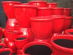 Bright Red Planters from Potsonline Australia #potsdirect