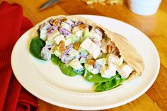 21 Day Fix Waldorf Chicken Salad Pocket - 1 RED, 1/2 PURPLE, 1/2 GREEN, 1/2 YELLOW, 1/2 BLUE (optional)