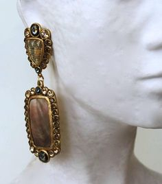 Ella K Papier-Mâché, Gold Leaf, Shagreen, & Mother of Pearl Clip Earrings | From a unique collection of vintage clip-on earrings at https://www.1stdibs.com/jewelry/earrings/clip-on-earrings/