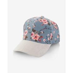 Express Floral Print Baseball Hat ($20) ❤ liked on Polyvore featuring accessories, hats, multi, brim cap, baseball hats, ball cap hats, floral ball cap and baseball cap