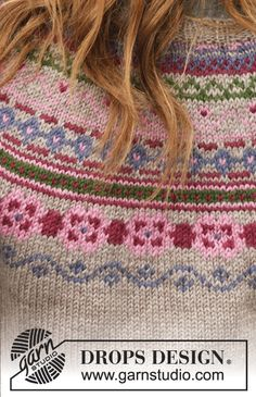 Martha / DROPS - Free knitting patterns by DROPS Design - Martha / DROPS – Knitted DROPS jacket in karisma with round yoke, jacquard pattern and sew - Punto Fair Isle, Tejido Fair Isle, Motif Fair Isle, Fair Isle Pattern, Knitting Help, Knitting For Beginners, Knitting Stitches, Knitting Patterns Free, Baby Knitting