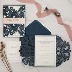 Elegant navy blue laser cut wedding invitations with pink belly band as low as 2 29 Laser Cut Wedding Invitations, Wedding Programs, Bridal Shower Invitations, Wedding Cards, Blue Envelopes, Reception Card, Card Making Techniques, Belly Bands, Response Cards