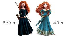 The remake of Merrida gives her a tamed mane of red curls, a plunging neckline, a narrowed waistline and an angled face. Her bow and arrow has also been removed. Merida wasn't created to be admired, but to be a positive and active force of her own fate. She ripped off the metaphorical dress that represented the confines of society which is now threatening to confine her again.