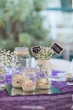 Adorable DIY centerpieces. They are so pretty and easy to put together! #wedding #photography #DIY #verolastudio #beachwedding #rustic #country #centerpiece