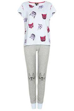 Cat Print Pyjama Set - They're the Cat's Pyjamas!