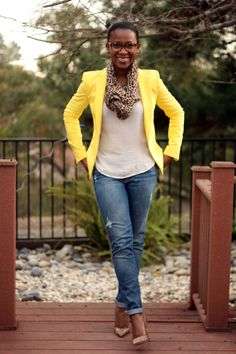 I can't wear yellow but this would be cute for Friday's at work with a different blazer.