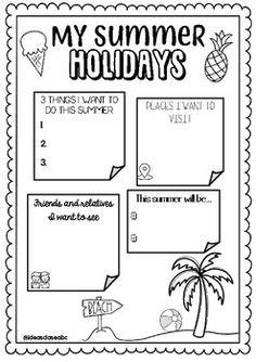 GRATIS! FREE! MIS PLANES DE VERANO- Summer plans- fin de curso- End of the year Teacher Newsletter, Teacher Pay Teachers, Journal, Teaching, How To Plan, Education, Free, Summer, Spanish
