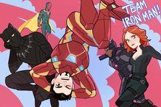 "TEAM IRON Man (T'Challa looks so bored like ""Can we please run after Bucky again please?"")"