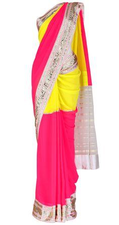 ABU JANI AND SANDEEP KHOSLA  Neon yellow and pink color block saree