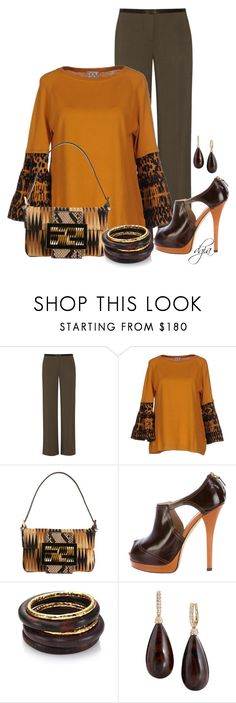 """""""Fendi bag and shoes with wooden jewelry"""" by dgia ❤ liked on Polyvore featuring The Row, DOUUOD, Fendi and Nest"""