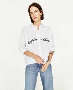 OVERSIZED SHIRT WITH EMBROIDERED SLOGAN