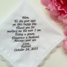 Wedding Gift From Groom To Mother by EmbroiCollection1 on Etsy