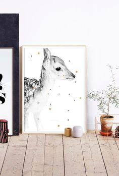 DAIM Portrait - Affiche scandinave - 50x70cm/18x24inches - Affiche animal - Poster Daim - Décoration chambre enfant - Pastel
