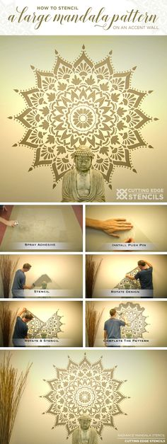How To Stencil A Large Mandala Pattern On An Accent Wall - Stencil Stories - Stenciled Accent Walls - Cutting Edge Stencils shares a tutorial on how to stencil an accent wall using a large 74 inch Radi - Mandala On Wall, Mandala Painting, Diy Painting, Cutting Edge Stencils, Stencil Diy, Stencil Designs, Wall Stenciling, Mandala Stencils, Mandala Pattern