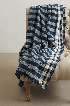 Striped gingham throw