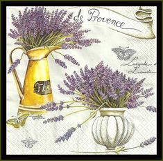Lavander de Provence - Paper Decoupage Napkins lot of four - Use For Crafts, Mixed Media, Scrapbook Metal Watering Can, Paper Napkins For Decoupage, Paper Ship, Lavander, Light Reflection, Flower Images, Altered Art, Collage Art, Picture Frames