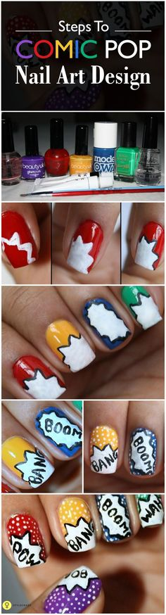 Need some simple nail arts? Here is a nail art design tutorial that you can try easily. Learn this step by step simple nail art, the process of creating comic pop art. Simple Nail Art Designs, Diy Nail Designs, Easy Nail Art, Finger, Nailart, Uñas Fashion, Glow, Super Nails, Nail Tutorials