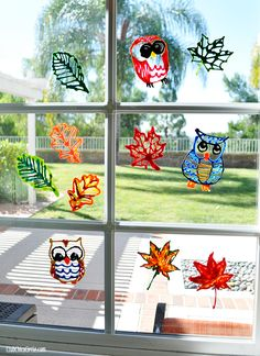 Fall Leaf and Owl Puffy Paint Window Decorations DIY