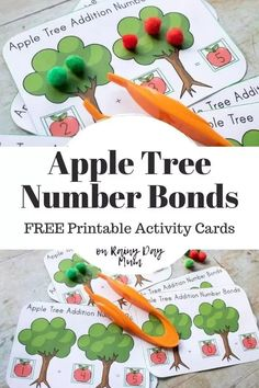 Set of FREE Printable Number Bonds Math Cards with an apple theme ideal for supporting preschoolers learn to make the number bonds to 5 Apple Activities, Printable Activities For Kids, Children Activities, Autumn Activities, Learning Activities, Free Printable Numbers, Free Printables, Learning Numbers, Fun Learning