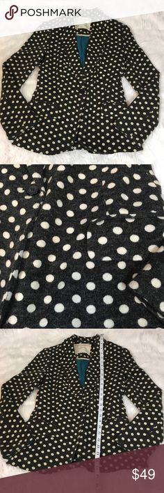 Anthroplogie Cartonnier Women's Polka Dot Blazer Anthroplogie Cartonnier Women's Blazer Size S Polka Dot Casual Career. 96% Acrylic, 4% Spandex.  Please see pictures for measurements.  Smoke free home. Anthropologie Jackets & Coats Blazers