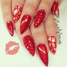 #ShareIG Kisses for the haters :) #swarovski bling and gel sculpted stilettos #Nailsbydanielle #Cranston RI #nail #nails #nailart #unha #unhas #unhasdecoradas