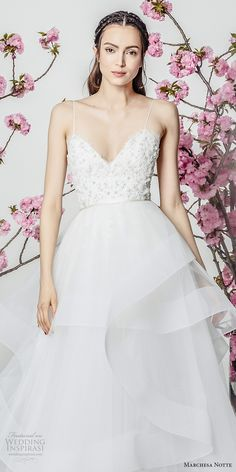 marchesa notte spring 2018 bridal sleeveless spaghetti strap sweetheart neckline heavily embellished bodice layered skirt a  line wedding dresschapel train (13) zv -- Marchesa Notte Spring 2018 Wedding Dresses