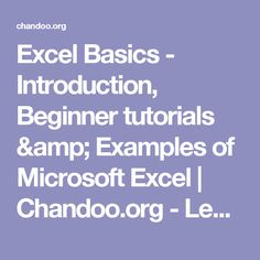 Excel Basics - Introduction, Beginner tutorials & Examples of Microsoft Excel | Chandoo.org - Learn Microsoft Excel Online