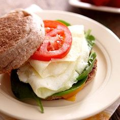 egg white, whole wheat English muffin, spinach, tomato and cheddar. Perfect breakfast.