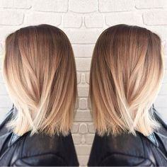 If you aren't feeling the textured wavy lob trend, this hairstyle is for you. Blonde balayage mimics the effect of the sun and brightens your face. The top of the hair is left dark, while the bottom and locks around the face are much more lighter. The style is a great choice for brunettes who want to experiment with lighter hair colors.