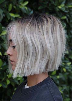 Soft Blunt Bob Haircuts for fashionable women 2019 Blunt Bob Haircuts, Short Bob Hairstyles, Short Blunt Haircut, Short Blunt Bob, Prom Hairstyles, Short Pixie, Ombre Short Bob, Very Short Bob, Bob Style Haircuts