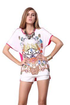 White Red Short Sleeve Gemstone Print T-Shirt