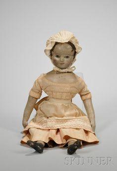 Oil-painted Cloth Izannah Walker Girl Doll, Rhode