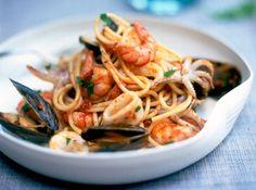 Cocina para Celiacos, Pasta con Frutos de Mar Para Celíacos.Recuerden usar solo productos sin gluten y con el sello que los habilita como aptos para celiacos.