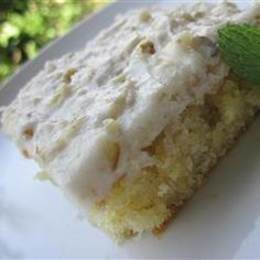 White Texas Sheet Cake Allrecipes.com  --for 9 X 13 pan, add 2 tsp. baking powder and bake at 350 for 30""