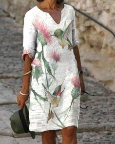 Linen Dresses, Casual Dresses, Vestido Casual, 50 Fashion, Style Fashion, Lady V, V Neck Dress, Dress Brands, Types Of Sleeves