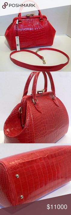 """Marc Jacobs Mini Stam Crocodile Shoulder Bag Made of beautiful vivid red REAL ALLIGATOR SKIN in a glossy finish with gold tone metal hardware.  Medium size bag it measures 9 1/2"""" high (not including top handles) x 15"""" long x 6"""" wide with matching REAL ALLIGATOR SKIN shoulder straps that measures 41"""" long and 17"""" high from the top center of the bag.  Both sides of the bag feature center ALLIGATOR SKIN, the best and most desirable part of the hide.  Top has a kiss lock opening and the gold…"""