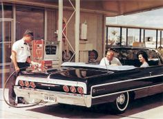 Filling up the new Impala convertible at Phillips 66 My Dream Car, Dream Cars, Vintage Cars, Antique Cars, Gas Station Attendant, Convertible, Gas Service, Old Gas Stations, Classic Chevrolet