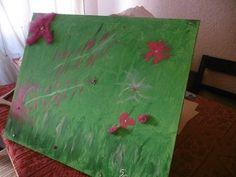 Tableau, Toile peinture acrylique vert flashy et ornements plumes très frais  Dimensions: 61/50 cm