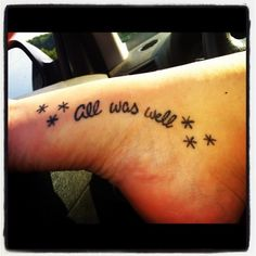 harry potter tattoo | This but with a lightening bolt on each side of the quote
