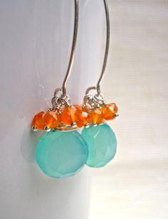 Jewelry Aqua Chalcedony and Carnelian Gemstone by NellBelleDesigns